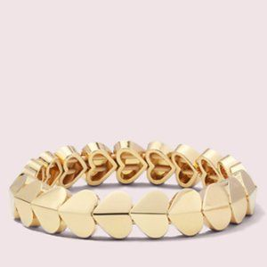 NWT: Kate Spade hearts bracelet in gold